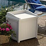 Suncast SS1000 ® Premium Garden Storage Seat Box Suitable For Indoor & Outdoor Storage (83 Litre Capacity – Taupe)