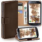 moex Samsung Galaxy S4 Mini | Hülle Dunkel-Braun mit Karten-Fach 360° Book Klapp-Hülle Handytasche Kunst-Leder Handyhülle für Samsung Galaxy S4 Mini Case Flip Cover Schutzhülle Tasche