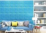 OneMtoss 3d brick pattern wallpaper brick Wandpapier Stein Abnehmbare selbstklebend Tapete für Kinderzimmer Schlafzimmer Wohnzimmer 10 Stück 70cm x 77cm Blau