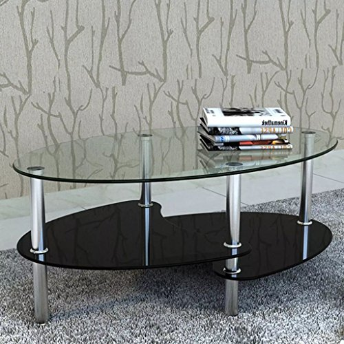 Lingjiushopping Table de Salon/Table Basse Noire Barcelone et Verre trempe + Metal Chrome Conception Exclusive avec 3 etages Materiel: Verre trempe + Metal Chrome