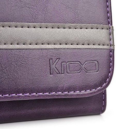 Kroo Lien série universel femmes portefeuille Wristlet sac à bandoulière Compatible avec de nombreux 4à 12,7cm Étui pour Huawei/Lenovo/LG/Motorola/Microsoft Téléphone portable Multicolore - Grey and Multicolore - Dark Plum Purple and Gunmetal Gray