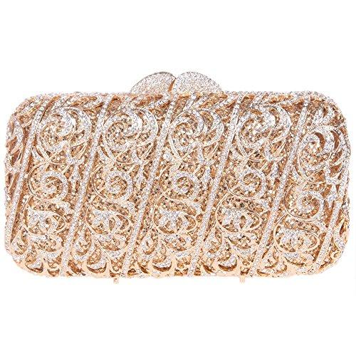 Santimon Clutch Delle Donne Fiore Uva Vite Diamante Borsetta Diamante Cristallo Borse Da Festa di Nozze Sera Con Tracolla Amovibile e Pacco Regalo 5 Colori oro