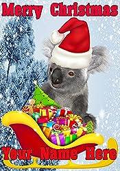 Koala Santa Schlitten nnc234Humorvolle Weihnachten Karte A5personalisierbar Karten geschrieben von uns Geschenke für alle 2016von Derbyshire UK