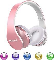 Bluetooth Funk Noise-Cancelling Kopfhörer, Faltbarer Surround Studio Über Ohr Headphones Verdrahteter mit Freihändigem Anruf mit Allem 3.5 Millimeter Musik-Gerät und Handy Arbeitet (Roségold)