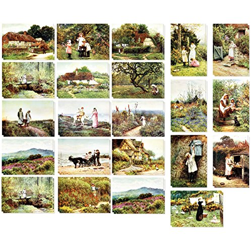 40Stück Vintage-Postkarten-Set, Motiv Weltkarte, X Karton Versandtaschen, Postkarten, verschiedene Designs, 2Stück mit je 40Stück, Old World, 4x 6Zoll (Vintage Collection Garden)