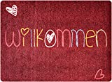 deco-mat Polyamid Fußmatte Willkommen • Fussmatte Draussen • rutschfest und waschbar • Fussabstreifer • 50 x 70 cm - Willkommen Bunt-Rot