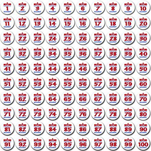 Sticker Button SO GUT AUSSEHEN … zum 1. bis 100. Geburtstag + Happy Birthday Button Klasse Geschenkidee zum kleinen Preis.
