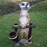 Dekofigur Erdmännchen am Zaun zum Bepflanzen Tierfigur Garten Figur Pflanztopf
