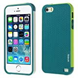 Generic Multi-color Edge Grid TPU Back Case Cover for Apple iPhone 5s 5 - Water Green
