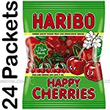 24x Haribo Happy Cherries Halal Sweets 80g Box of 24 Children Kids Sweet Chewy Jelly Jellies Halal
