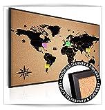 decomonkey | 90x60 cm Weltkarte Kork Pinnwand XXL Format | Bilder mit Echt-Holz-Rahmen | Kork Tafel im Holzrahmen | Aufhängfertig | Wandbilder | wasser und wischfest | Kontinent Landkarte Reise Welt Schwarz