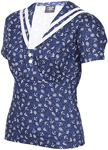 Küstenluder IRIS Sailor ANCHOR Matrosen Collar BLUSE Oberteil Rockabilly -