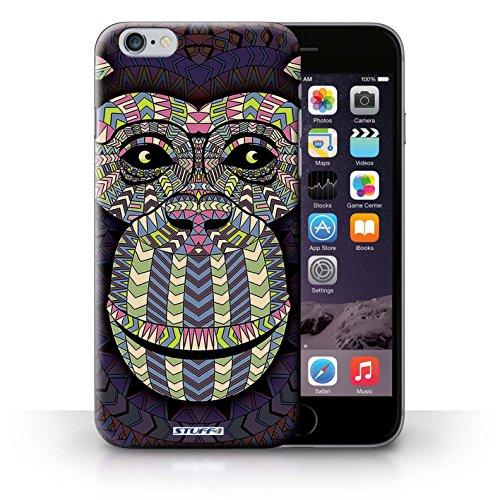 Coque en plastique pour iPhone 6+/Plus 5.5 Collection Motif Animaux Aztec - Loup-Cramoisi Singe-Couleur