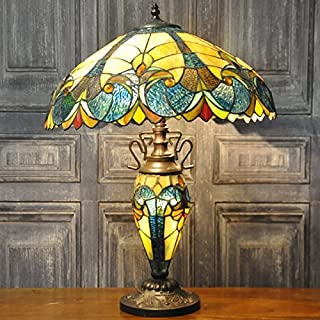 Blue, Yellow & Green Traditional Art Deco Style Double Tiffany Stained Glass Table Lamp 57cm High