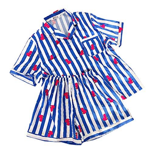 BT21 Bangtan Boys Karikatur drucken Pyjamas Zwei Stücke Set Nachtwäsche Sommer Casual Home Kleidung (3,S) - Baumwolle Zwei Stück Pyjama Set