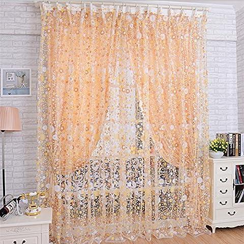 Zycshang haute qualité romantique Imprimé floral Voile Porte Fenêtre Sheer Rideaux Chambre Rideau Divider 100x 200cm
