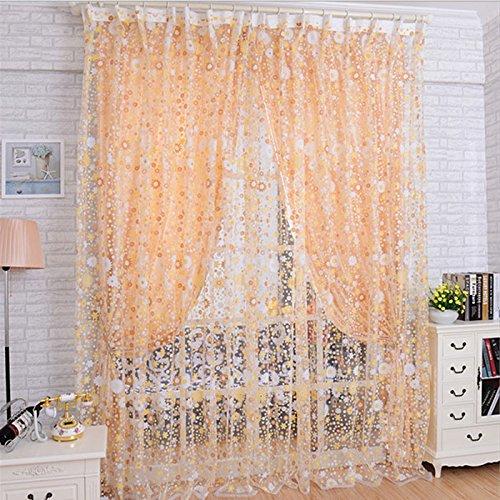 Preisvergleich Produktbild zycshang Hohe Qualität Romantische Print Floral Voile Tür Sheer Gardinen Raum Vorhang Trennwand 100x 200cm Modern Orange