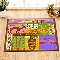 LB Ethnique africaine avec différents animaux africains/masque/Voyage en Afrique,alfombra de baño,40 × 60 CM