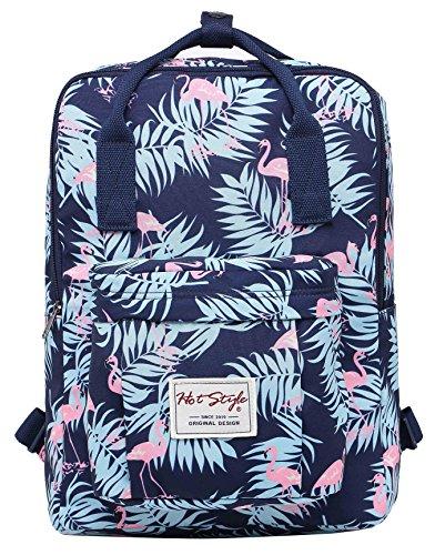 HotStyle Bestie Mode Mädchen Rucksack (37x27x14cm) - hält 13,3-Zoll-Laptop - Flamingos Marine