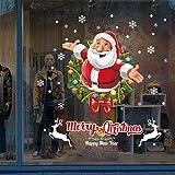 Christmas Wall Stickers,Moonuy Weihnachten Umwelt wasserdicht Wandsticker Wohnzimmer Weihnachten Weihnachtsmann Schneemann Elch Wandsticker Fenster Dekor