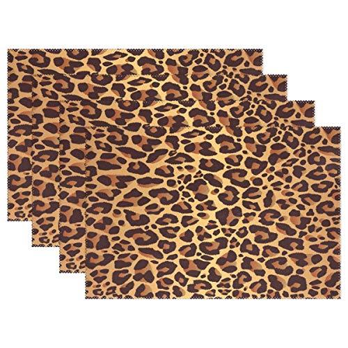 Bright Leopard Print Placemat Table Mat, Animal Fur 12