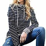 Lucky mall Frauen Langarm Hoodie Sweatshirt Pullover mit Kapuze Pullover, Pullover mit Langen Ärmeln und Streifen