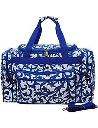 "Royal Blue Damask Print Medium 20"" Carry On Shoulder Duffle Bag By N.Gil"