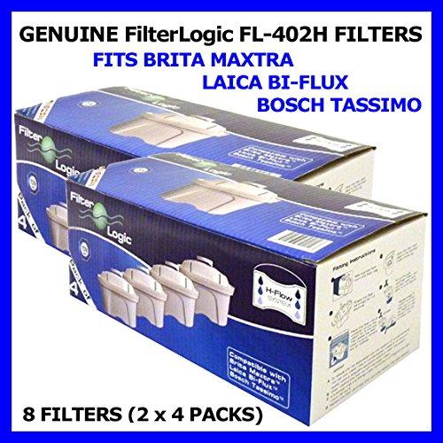 8 Stück FilterLogic FL402H Filterkartuschen, passend für Brita Maxtra