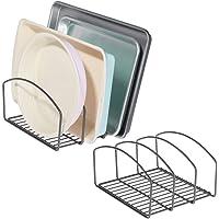 mDesign (Lot de 2 égouttoir en métal pour casseroles, poêles et couvercles – Range Couvercle à 3 Places pour Placard de…