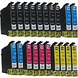 20 komp. Druckerpatronen für Epson WorkForce WF 2010 2510 2520 2530 2540 2630 2650D 2660 W WF NF DWF Sie bekommen 8 x Schwarz 4 x Blau 4 x Rot 4 x Gelb kompatibel zu T1636 T1631 T1632 T1633 T1634