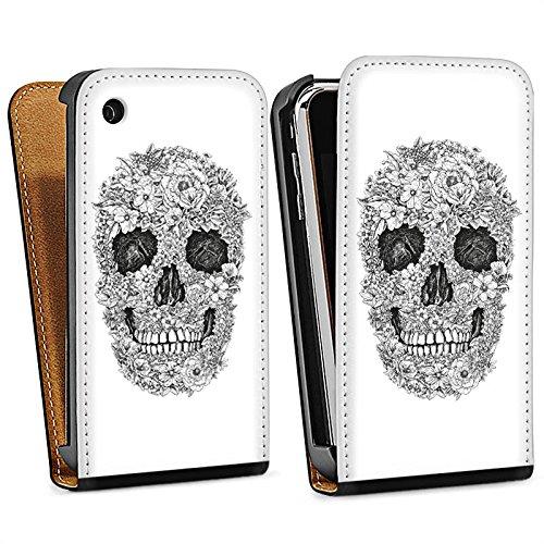 Apple iPhone 4 Housse Étui Silicone Coque Protection Tête de mort Fleurs Rétro Sac Downflip noir