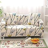 HYSENM 1/2/3/4 Sitzer Sofabezug Sofaüberwurf Stretch weich elastisch farbecht Blumen-Muster, Löwenzahn 2 Sitzer 145-185cm