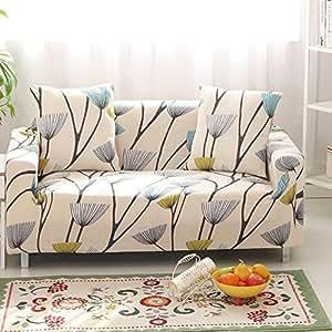 HYSENM 1/2/3/4 Places Housse de Canapé Fauteuil Couvre Sofa Modal Extensible Elastique Campagne Doux Meubles Maison, beige plante 2 places(145-185cm)