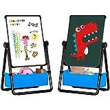 Arkmiido Chevalet d'art pour Enfant Chevalet Double-Face pour Enfants sur Pied Tableau Blanc et Noir avec Support et Réglable