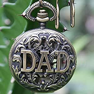 Father's Gift Antique Brass Hollow DAD Mechanical Pocket Watch