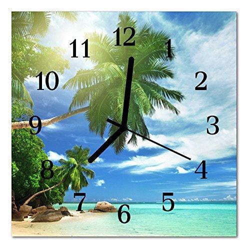 Uhr Palme (Glasuhr von DekoGlas 30x30cm quadratisch Bilderuhr aus Acrylglas mit lautlosem Quarzuhrwerk Dekouhr Glaswanduhr Uhr aus PMMA Wanduhren Küchenuhr Wanddekoration Glasbilder Palmen Insel mehrfarbig)