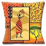 African Tribal Lady Orange Gelb Beige Shades bedruckt-40,6cm (40cm) Kissenbezug,