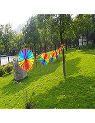 Moppi 8pcs moulins à vent ronds colorés moulins à vent classiques de 28 centimètres de diamètre moulin à vent de ficelle créateur