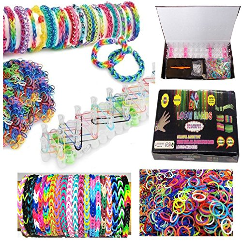 Colourful Loom Bands To Make Your Own Kit Plus 600 Bands & 24 (S-Clips) & Loom Board - Pick Tool
