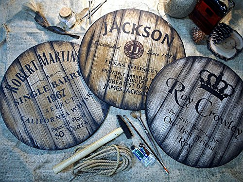 Custom sign inspired by whiskey barrel tops | Personalized Gifts for men | Rustic wall decor | Hand-painted theme on a worn out, distressed wood plaque | Home Bar decoration | Christmas Gift -