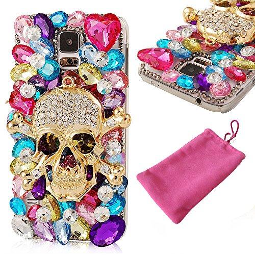 Strass Blumen Kombinieren glänzend Diamant lu2000Bling Totenkopf Cover Case Hülle für Samsung Galaxy S5S6Edge S5Note 43, Samsung Galaxy S7 Edge+ - Samsung Note4 Bling Case