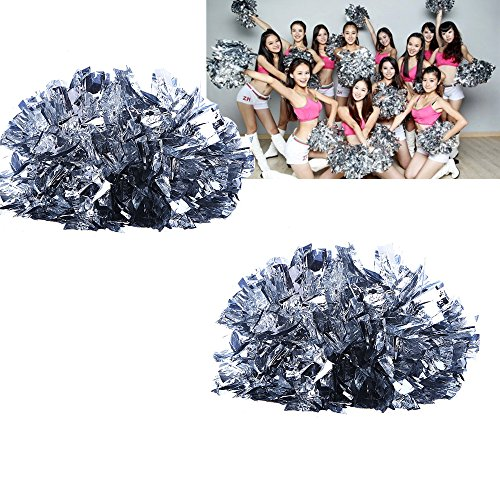Gofypel Cheerleading Poms Squad Spirited Fun Cheerleading Kit Cheer Pompons Handheld Pom Dance Party Fußball Club Decor Ball mit Taktstock Griff (2 Pack), Silberfarben, 9.4 * 13.3 * 5.5in -