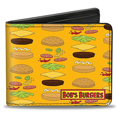 Buckle Down Men's Bi-Fold Wallet, Bob's Burgers Hamburger Fixings Orange, Standard Size