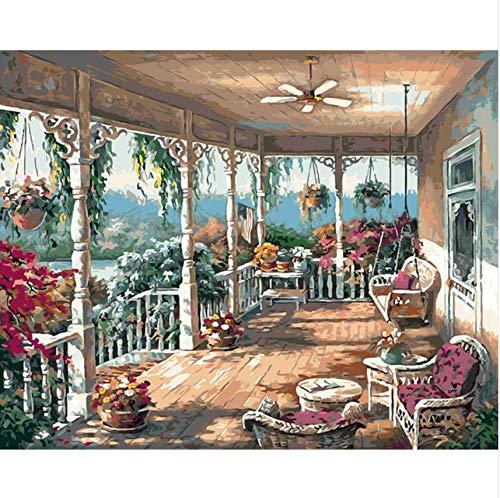 HHYSPA Western Courtyard Swing Flores DIY Pintura Digital por Números Pintura por Número Cuadros de Pintura Al Óleo sobre Algodón para la Decoración Casera 40X50 CM