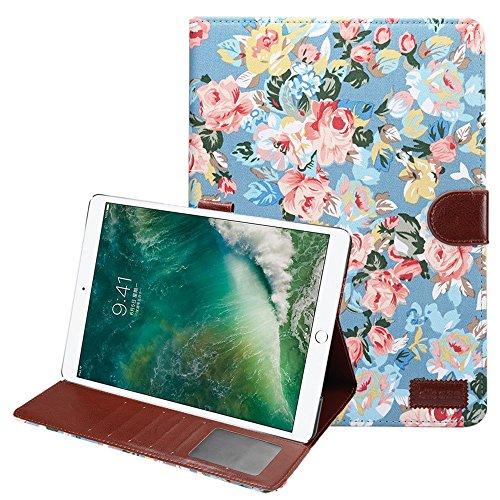 TechCode iPad Pro 10.5 Case Cover, iPad Bildschirm schützende Luxus Buch Stil klassischen Blumenmuster Folio Stand Hülle mit Kartensteckplätze Magnetic Smart Case Cover für iPad Pro 10.5 (Blau)