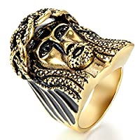 Flongo Men's Stainless Steel Gold Vintage Skeleton Jesus Christ Religious Prayer Man of Sorrows Band Ring, Size Z+1