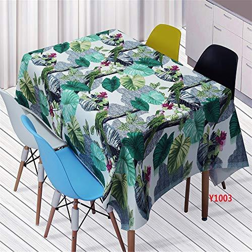 QWEASDZX Tropical Forest Leaf Stapling Tischdecke Rechteckige Tischdecke Fleckentfernende Tischdecke Tischdecke aus Polyester für Innen- und Außenbereiche Mehrweg 100x140cm