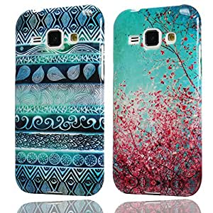 Hunye 2in1 Accessori Set: 2 x Custodia in TPU Gomma per Samsung Galaxy J1 Case Gel Prugna Fiore e Indiano Modello colorato Cover