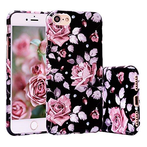 Preisvergleich Produktbild iPhone 7 Hülle,  ZXK CO Weich TPU Silikon Case Schutzhülle 3D Vintage Blumen Muster für iPhone 7 4, 7 zoll - Rose