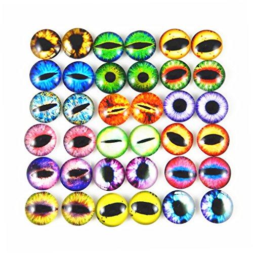 Julie Wang Drachenaugen-Cabochons aus Glas, rund, sortierte Größen, 1 Pack/40 Stück, 15 mm